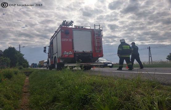 Wypadek samochodowy we wsi Goleniowy
