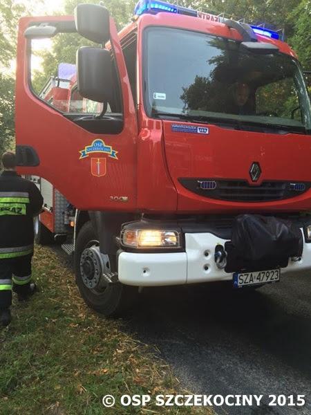 Pożar samochodu osobowego we wsi Rokitno gmina Szczekociny