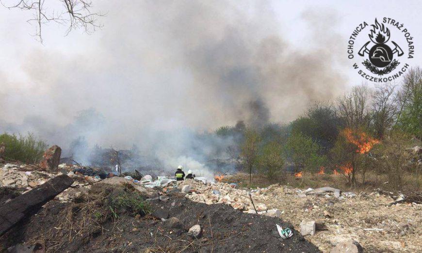 Pożar na dzikim wysypisku w Szczekocinach.