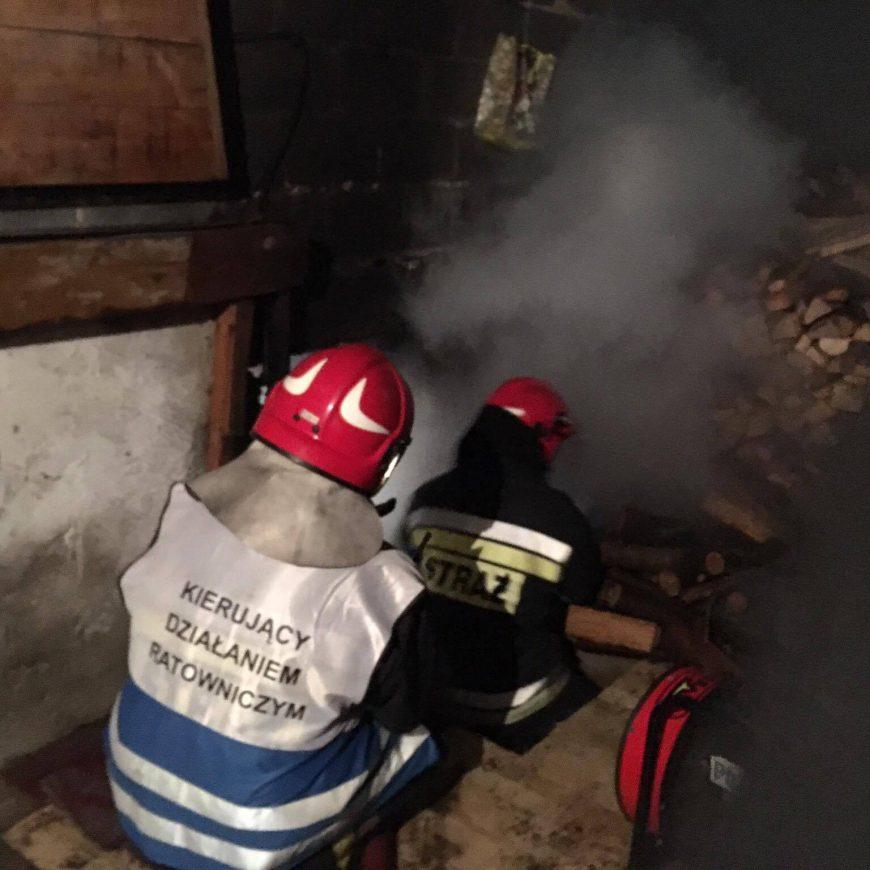 Pożar piwnicy w miejscowości Ołudza gmina Szczekociny.