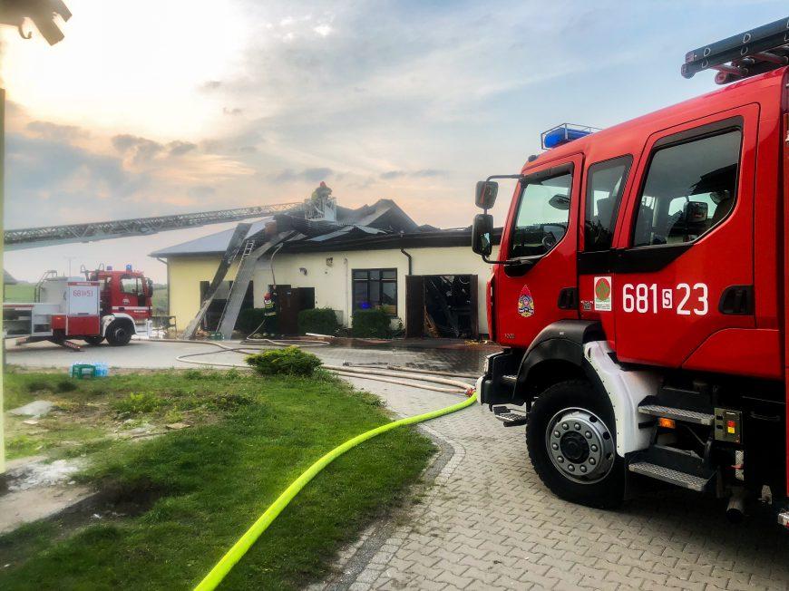 Pożar suszarni drewna w Bonowicach.